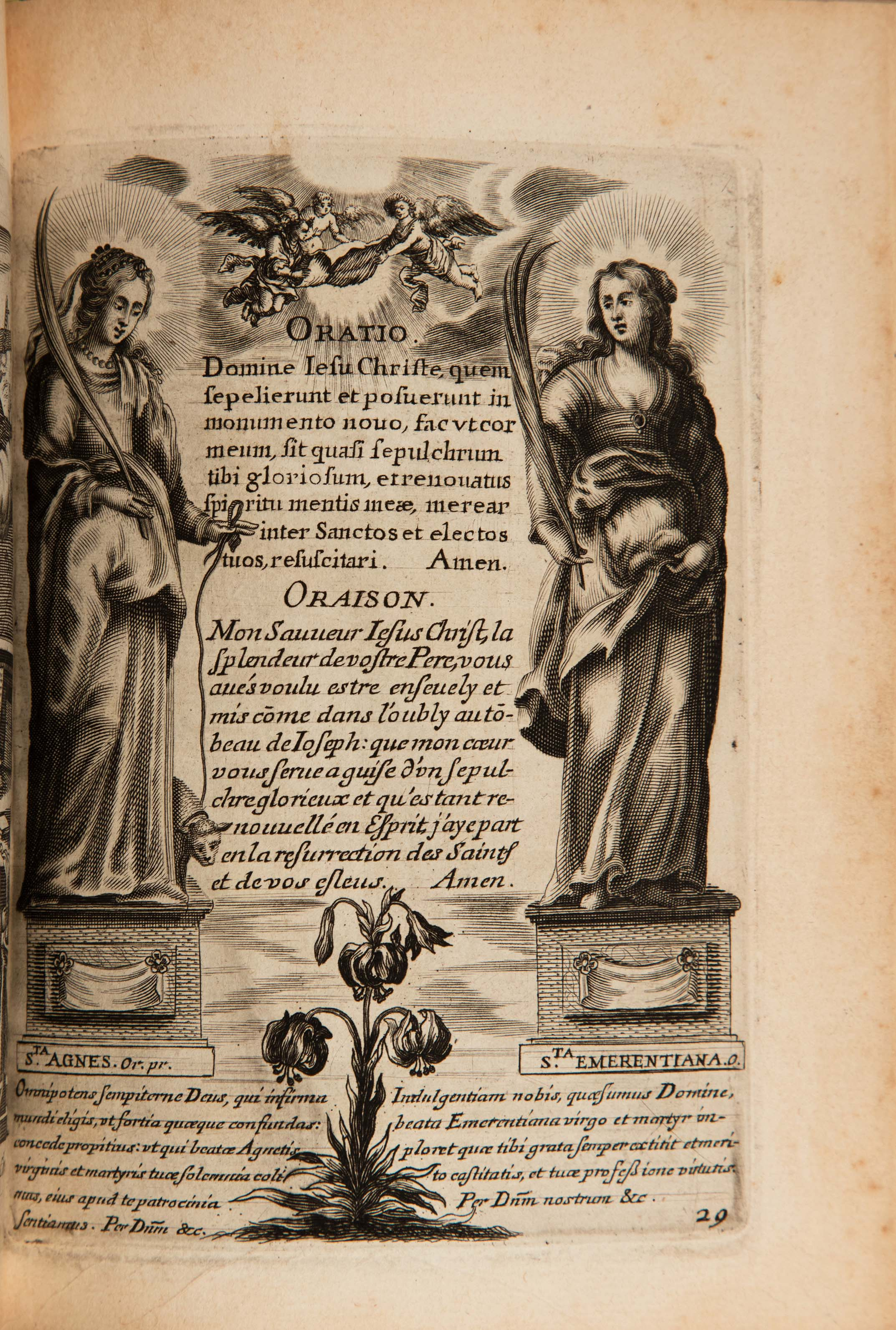 Prayer in both French and Latin. Images show two women figures with halos holding swords.