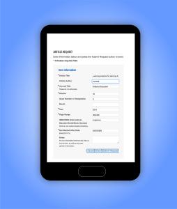 screenshot of article request form