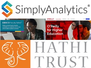 Logos for SimplyAnalytics, Faculty Select, O'Reilly for Higher Education, HathiTrust