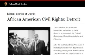 Screenshot of the NPS article, African American Civil Rights: Detroit