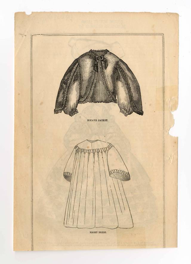 Public domain archival image from the Metropolitan Museum's Costume Institute Fashion Plates collection shows an illustration of a zouave jacket and a night dress from 1860-1861.
