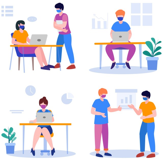 Royalty free image from pixabay. Four colorful spot illustrations depict people in the workplace. The workers are having conversations, gesturing, holding papers, and using computers. They are wearing face masks. They are surrounded by furniture, plants, and various symbols, charts, and graphs.
