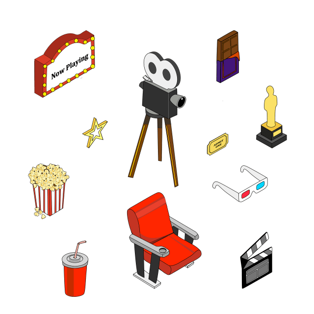digital illustration of movie-related objects
