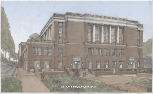 The back side of Alderman Library with a large patio space, several new entrances, and columned styling similar to historic parts of the building