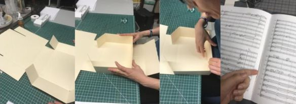 series of photos of Bawk folding a box and sewing a pamphlet