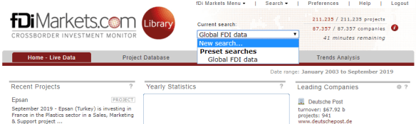 """Screenshot of fDi Markets search box with """"New Search"""" selected."""