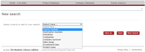 "Screenshot of drop-down menu with ""Source markets"" selected."