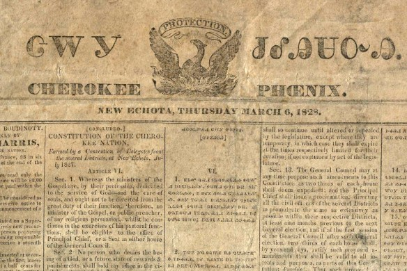 Front page of March 6, 1828 issue of the Cherokee Phoenix