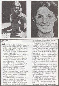"""photo (upper left) of Patty Hearst and the text of a letter to her parents explaining why she joined with her abductors, the radical """"Symbianese Liberation Army."""