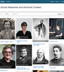 screenshot showing faces of people in the Social Networks and Archival Context online resource