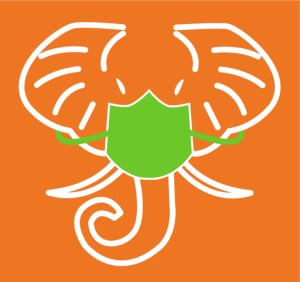 Graphic of HathiTrust logo, an elephant's head, with the addition of a face mask