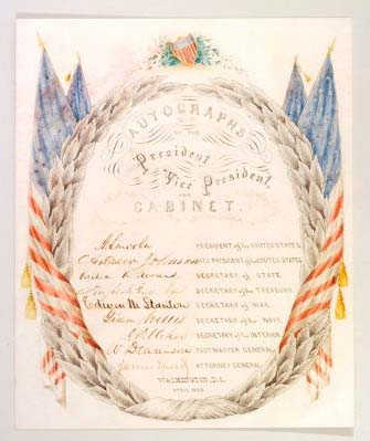 Autographs of the president, vice president, and cabinet, with ornate hand-drawn flags