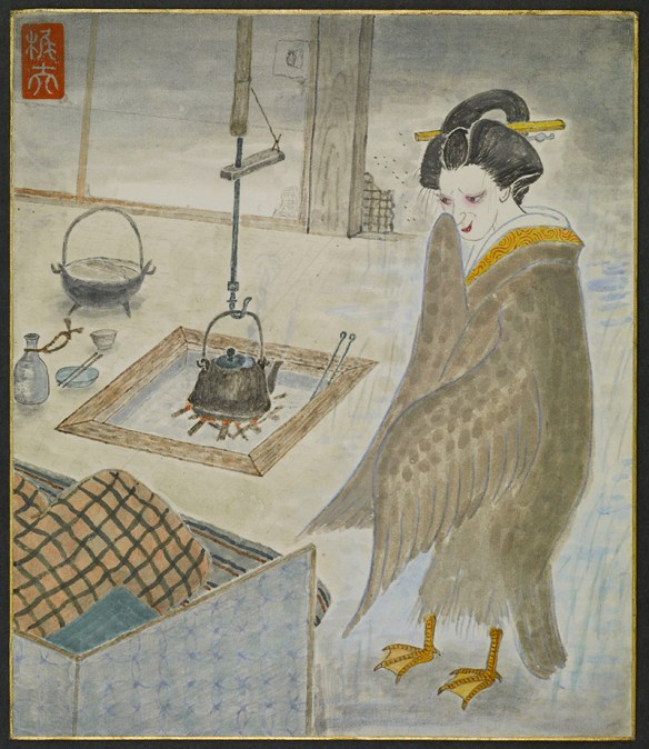 A woman with bird's wings and feet stands at the foot of a bed, gazing down at its occupant. In the background a tea kettle is suspended over a fire by a pothook.