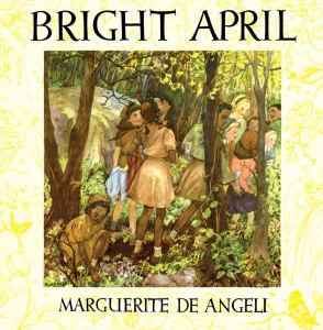 """Book cover illustration for """"Bright April"""" depicts a scene of young girls, some Black, some white, in Brownie uniforms in the forest."""
