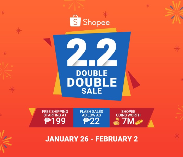 Shopee 2.2 Double Double Sale Underway
