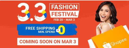 Shopee 3.3 Fashion Festival Features Sitewide Free Shipping and up to 90% Price Cuts!