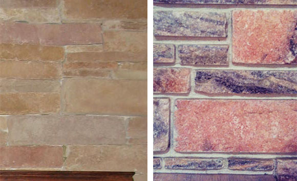 Can you tell which one of these is stone veneer, and which is natural stone? (Left photo via Chris Breeze on Flickr; right photo via Miamism on Flickr. Both used under license.)