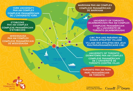 Venue map courtesy of the Ontario Ministry for the Pan Am/Parapan Games 2015.
