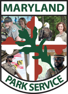 Collage of rangers embedded in Parks crest