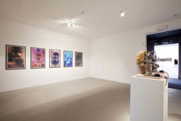Nathaniel Mellors, installation view at ILLUMInations showing Venus of Truson (prehistoric, photogrammic originals), 2011 (left) and Hippy Dialectics, 2010 (right)