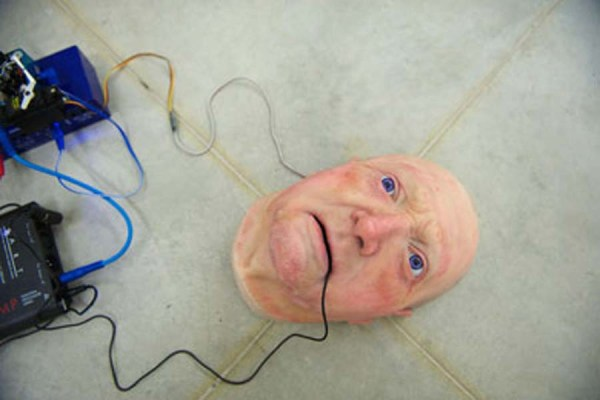 Nathaniel Mellors,The Seven Ages of Britain Teaser Face, 2010. Installation view at Monitor, Rome.