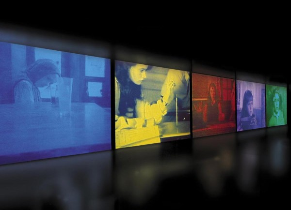 Susan Hiller, Psi Girls, 1999. 5 Screen video installation.