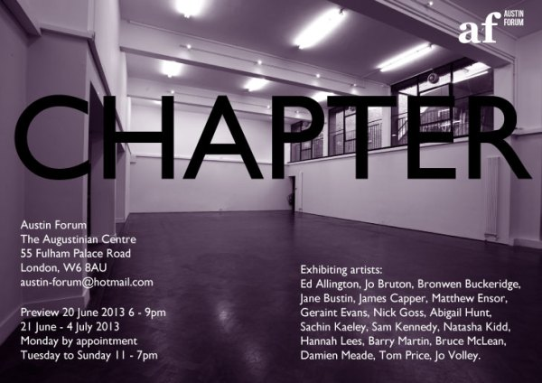Invitation to CHAPTER the inaugural exhibition at Austin Forum.