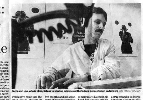 Scan of an article in The Independent, 23rd Nov 2007, about Wiretap analyst Sacha van Loo. Photograph Josh Fistock, scanned by Imogen Stidworthy during the making of Sacha, 2011-12