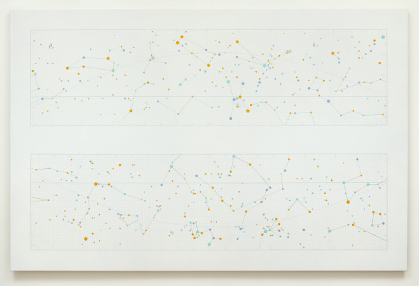 Alison Turnbull, Ecliptic, Oil, acrylic and silverpoint on canvas, 150 x 230 cm, 2013. Courtesy of the artist.
