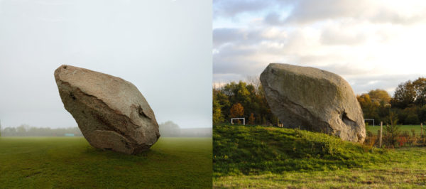John Frankland, Boulder 2, 2008. (left) as installed in 2008, (right) after re-landscaping works in 2016. Image courtesy of the artist.
