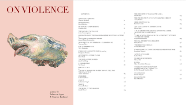 On Violence, 2018. Co-edited by Rebecca Jagoe & Sharon Kivland.