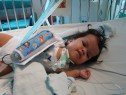Lindsey in her crib at the hospital