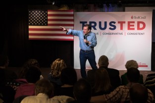 Ted Cruz addresses the audience at his rally Sunday night