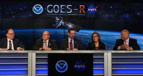 (From left to right) Steven Goodman, GOES-R program scientist, NOAA; Joe Pica, director of the Office of Operations of the National Weather Service; Sandra Cauffman, deputy director of the Earth Science Division of NASA; and Damon Penn, assistant administrator of the Response Directorate at FEMA, give a mission briefing at the Kennedy Space Center press office prior to launch. Kelly Calagna/MEDILL