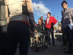 Congresswoman Tammy Duckworth, Illinois Democrat running for U.S. Senate, stops in Chicago's Pilsen neighborhood on Election Day. (Marianna Brady/MEDILL)