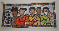 painted banner showing members of an AIDs positive group