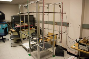 Students at UIUC devised this chamber for testing all of their satellites in zero gravity. The CubeSats will go inside of the cage-like structure, which will detect signals bounced off the instrumentation inside and translate it into data the researchers can interpret.