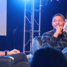 Bradley Beat speaking at NBA Crossover with Allie LaForce on NBA fashion and pop culture.