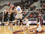 UCLA's Dylan Missry rises for a left-side swing in the first set. Four of Missry's 11 kills came in the first frame. (Tim Hackett//Medill)