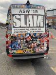 The back of the SLAM van, emphasizing social media.(Andrew Donlan/Medill)