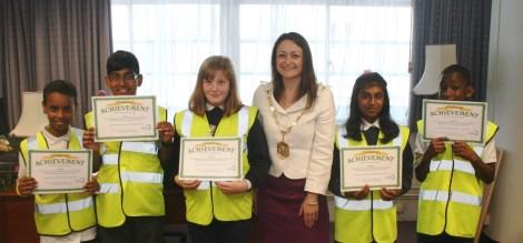 Junior Road Safety Officers meet the Mayor of Merton