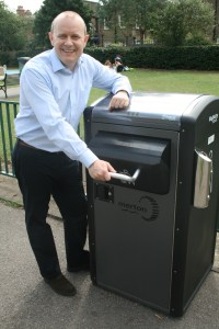 Councillor Mark Betteridge with one of the new solar bins