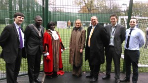 Cllr Nick Draper, Charlie Ocansey, Cllr Agatha Akyigyina, Sarah Ridley from London Marathon Charitable Trust, Nick Bitel, Chair, Sport England, Barry Causer from the council's Public Health team and Tyron Fuller, Canons Leisure Centre Manager for GLL