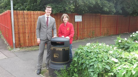 Cllr Ross Garrod and headteacher Lizzie Hudson outside Lonesome Primary Mitcham 2