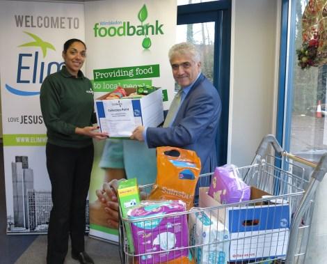 Foodbank donation Stephen Alambritis and Corinne Marshall.jpg