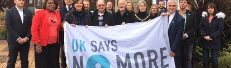 Leader of Merton Council Cllr Stephen Alambritis and Deputy Mayor Cllr Judy Saunders with councillors and officers supporting the international campaign against domestic violence and sexual assault