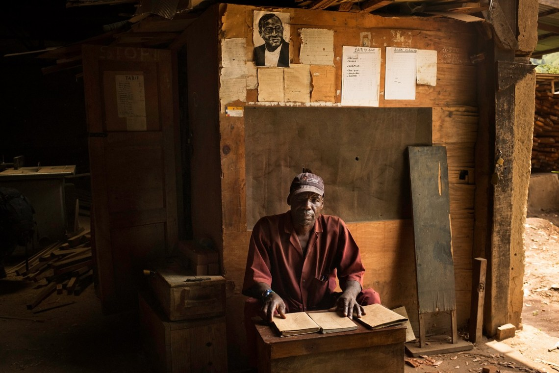 André Kasereka Syangeha, manager of the Father Caracciolo Millwork in Nyamilima, North Kivu, DRC, November 2016. Photo by Leonora Baumann for Mongabay.