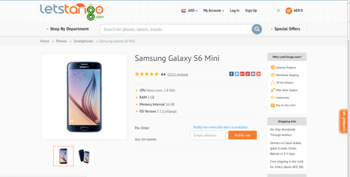 Samsung Galaxy S6 Mini Listing