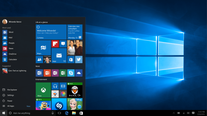 Windows 10 with Start Menu