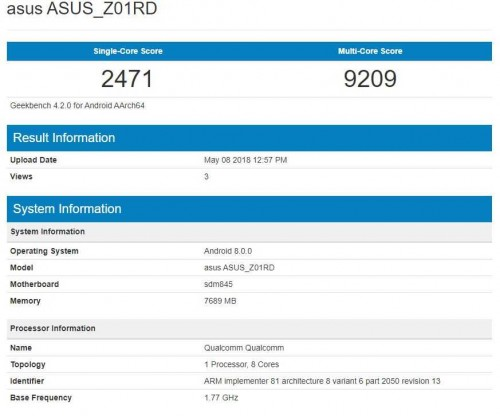 Zenfone 5z on GeekBench